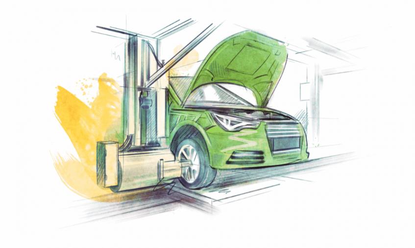 Translata ilustrácia - automobilový priemysel
