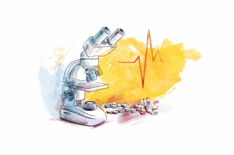 Translata ilustrácia - mikroskop a lieky