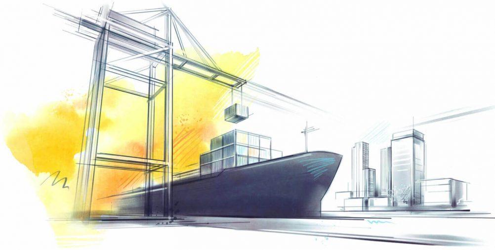 Translata ilustrácia - loď v nákladnom prístave