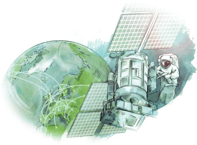 Translata ilustrácia - astronaut na vesmírnej stanici