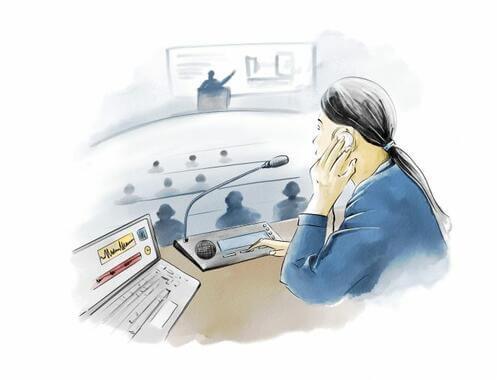 Translata ilustrácia - tlmočník na konferencii